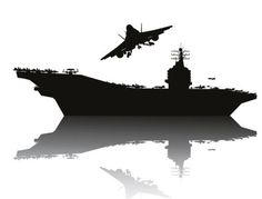 Aircraft carrier silhouetter vector 02
