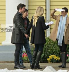 Once Upon A Time filming 6x18 Jennifer Morrison Colin O'Donoghue and Ginnifer Goodwin