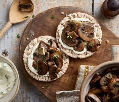 Garlic & Thyme Wild Mushrooms with Tarragon Crème Fraiche Wild Mushrooms, Stuffed Mushrooms, Under 300 Calories, Tasty, Yummy Food, Creme Fraiche, Cake Toppings, Fruits And Vegetables, Garlic
