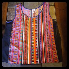 funky Aztec tank size 2xl, long tunic style. sheer sides. funky Aztec striped print. NWOT Tops Tank Tops