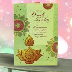Diwali Cards Thinking Of you as Diwali Is Here With Lots Of Love May Diwali bring you light and laughter warmth and wonder, and all the special magic of the season. Also, wishing you a good life, peace that lasts and the chance to do the things that make you happy. warm reunions and everything wonderful that Diwali means to you. Wishing you prosperity On Diwali and Always. length : 15 cm Height : 23 cm. Rs 80 : http://hallmarkcards.co.in/collections/diwali-greetings/products/diwali-cards