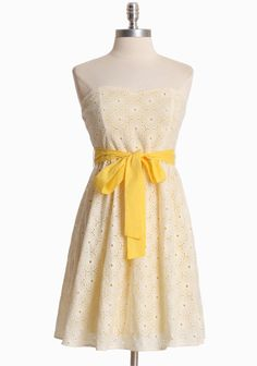 """Sunshine Days Eyelet Dress 59.99 at shopruche.com. Vibrantly beautiful, this soft cotton dress in yellow features an eyelet overlay in cream, a flattering sweetheart neckline, an exposed back zipper closure, and an elasticized back for the perfect fit. Fully lined. Removable sash.  100% Cotton, Imported, 28.5"""" length from top of shoulder"""