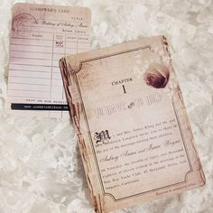 Vintage Wedding Invitations... Such a cute idea of Love Story Book invite and library card RSVP