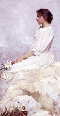 Albert Herter 1871-1950 Portrait of Bessie 1892.