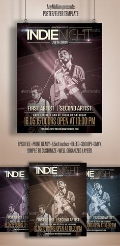 Indieweek flyer template or poster template designed to promote any kind of music event, concert, festival, party or weekly event in a music club and other kind of special evenings. http://graphicriver.net/item/indie-week-flyer/10929880
