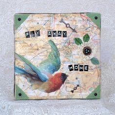 Bird Collage Art Mixed Media Home Decor Bird Multicolor Travel Paris Map. $55.00, via Etsy.