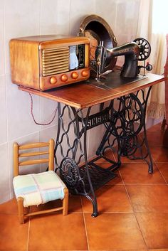 Old sewing machine and a radio