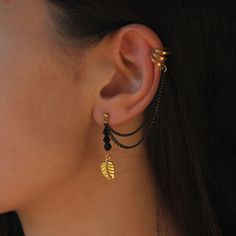 Leaf Chain Ear Cuff Earrings