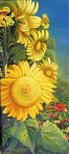 """Fairview Sunflowers"" From my flower garden. Acrylic by Pam Doan"