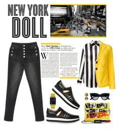 """""""NEW YORK DOLL"""" by shortyluv718 ❤ liked on Polyvore featuring Hemingway, Casetify, Jimmy Choo, Balmain, Dsquared2, stripedshirt and stripestyle"""