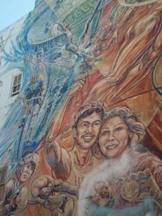 El Nuevo Fuego is a colorful, inspirational mural remembering Los Angeles' Olympic history, winners, and traditions.