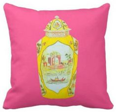 Royal Worcester Jar Pillow, Pink by Annechovie - contemporary - pillows - Etsy