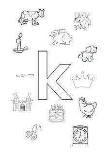 Welk plaatje/woord begint met de letter k?