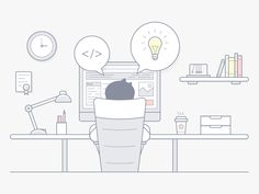 Workplace illustration in linear style by Andrii Malinovskyi #Design Popular #Dribbble #shots