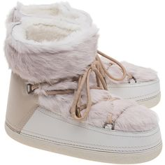 INUIKII Low Rabbit Sandshell // Lambskin boots with fur trim featuring polyvore, women's fashion, shoes, boots, rabbit fur boots, laced up shoes, lace up boots, low boots and embroidered boots