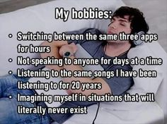 Funny memes – My hobbies include Introvert Quotes, Introvert Problems, Funny Relatable Memes, Funny Quotes, Funniest Memes, Infj Personality, No Kidding, Les Sentiments, I Can Relate