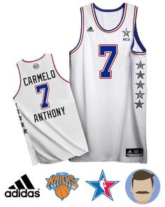 36afc6aafce Men s Carmelo Anthony  7 White NYC All-Star Jersey Anthony White