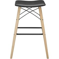 Walker Edison - 4 Legs Synthetic Leather, Wood and Powder-Coated Steel Stool - Black