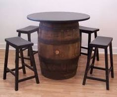 Image result for wine barrel table and chairs