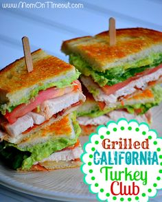 Grilled California Turkey Club turkey, sliced {leftover turkey works great!} 8 strips baked bacon, cut in half {2 per sandwich} 2 Tbls sour cream 1 avocado 4 slices Swiss cheese lettuce {optional} tomato slices {optional} bread {we use sourdough}