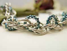 Chainmaille Bracelet with Blue Silver Beaded Links by JeannieRichard on Etsy