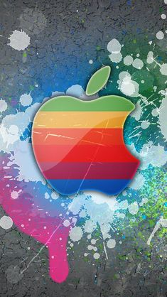iPhone 5 Wallpaper Apple rainbow art