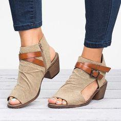 Dekorhea Plus Size Women Sandals Canvas Low-heel Sandals with Zipper Low Heel Sandals, Leather Wedge Sandals, Low Heels, Low Wedge Shoes, Open Toe Booties, Ankle Booties, Flip Flop Shoes, Flip Flops, Thick Heels