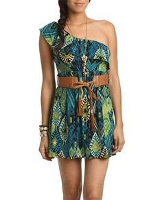 One Shoulder Belted Dress - Teen Clothing by Wet Seal - StyleSays