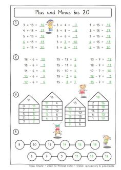 OwlMail - Plus und Minus 20 First Grade Math Worksheets, Second Grade Math, Worksheets For Kids, Preschool Math, Kindergarten Math, Math Activities, Math Vocabulary, Math Addition, Math For Kids