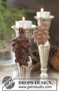 """DROPS Weihnachten: Gehäkelte DROPS Zapfen in """"Cotton Viscose"""". ~ DROPS Design"""