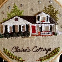 Just need to wait to see if the young lady wants to make any adjustments and this home will be on its way home! I'm loving this new multiple pictures on one post thing! Hand Embroidery Stitches, Silk Ribbon Embroidery, Embroidery Techniques, Embroidery Applique, Cross Stitch Embroidery, Hand Stitching, Embroidery Patterns, Portrait Embroidery, Home Art