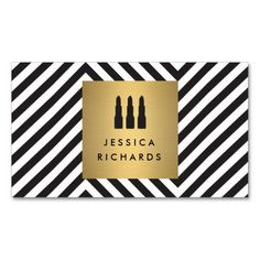 Lipstick Trio Logo on Retro Black/White Pattern II Double-Sided Standard Business Cards (Pack Of 100). Make your own business card with this great design. All you need is to add your info to this template. Click the image to try it out!