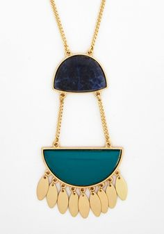 Bold, Please Necklace - Green, Solid, Boho, Gold