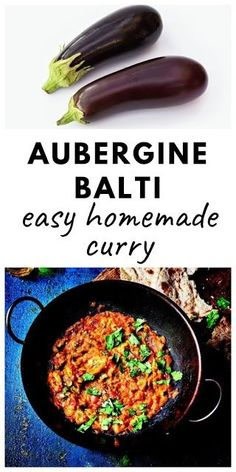 Easy Aubergine Balti - an easy homemade curry made with aubergine (eggplant), tomatoes and spices. #auberginebalti #auberginecurry #eggplantcurry #eggplantbalti #easybalitrecipe #vegancurry #veganbalti #vegetariancurry #vegetarianbalti #auberginerecipes #eggplantrecipes Curry Recipes, Vegan Recipes Easy, Vegetable Recipes, Vegetarian Recipes, Cooking Recipes, Veggie Food, Cooking Tips, Aubergine Curry Recipe, Eggplant Curry Indian