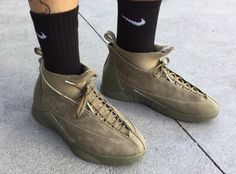 """09d5ae35065a PSNY x Air Jordan 15 in """"Olive Suede""""  sneakers  shoes  kicks"""