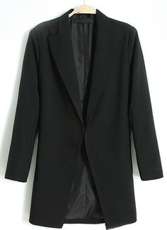 Black Lapel Long Sleeve Covered Button Blazer EUR€24.31