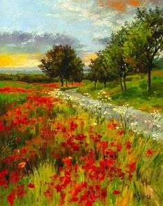 Buy POPPY FIELDS (Modern Impressionistic Landscape Oil Painting, Gift for nature lovers), Oil painting by Yaroslav Sobol on Artfinder. Discover thousands of other original paintings, prints, sculptures and photography from independent artists. Watercolor Landscape Paintings, Nature Paintings, Oil Painting Abstract, Abstract Landscape, Acrylic Paintings, Original Paintings, Indian Paintings, Painting Art, Painting Lessons