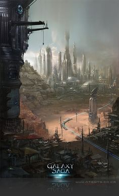 Artist: Atents - Title: 10galaxy2 - Card: Unknown Landscape Concept, Fantasy Landscape, Environment Concept, Environment Design, Sci Fi City, Saga, Alien Worlds, Futuristic City, Digital Backgrounds