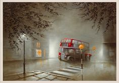 by Bob Barker - Landscape Paintings & fine art pictures available in our gallery - Free delivery on all orders over Pictures To Paint, Art Pictures, Bus Art, Rain Art, Unique Paintings, Art Paintings, Cool Artwork, Amazing Artwork, Abstract Photography