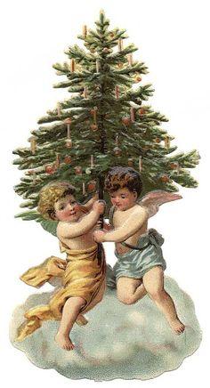 Oval Victorian Christmas Die Cut Snow Girls Pine Tree