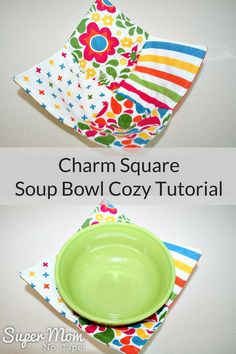 Charm Square Soup Bowl Cozy Tutorial - You'll want to make lots of these Soup Bowl Cozies using my quick and easy tutorial.  Lots of photos and detailed instructions so that even a beginner can sew them. #sewingproject #sewingtutorial via @susanflemming