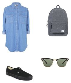 """Untitled #93"" by alexandragabriela2 on Polyvore featuring Topshop, Vans, Herschel Supply Co. and Ray-Ban"