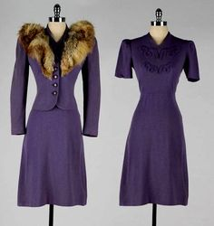 stunning 1940's ensemble. Matching dress and outerwear jacket with fur stole.