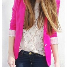 Cute Outfit- I like that the neon pink doesn't look too childish when paired with the soft floral print and dark jeans