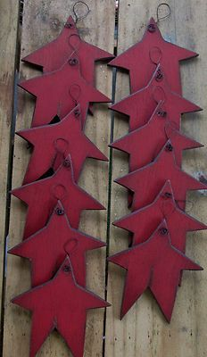Primitive Wood Red Star Ornaments Winter Tree Gathering 12 Antiqued Distressed