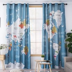 Colorful animal world map printed kids curtains for living room boys girls bedroom study balcony shade children's Room curtain - Kids Bedroom Cheap Curtains, Modern Curtains, Colorful Curtains, Boys Room Curtains, Childrens Curtains, Boy Girl Bedroom, Boy Room, World Map Bedroom, Balcony Shade