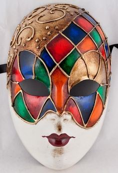 Venetian Masquerade Mask Volto; the colorful pattern