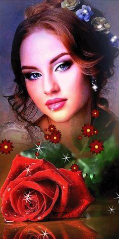 Fantasy Art Women, Beautiful Fantasy Art, Beautiful Gif, Beautiful Flowers, Animated Heart, Animated Gif, Gifs, Romantic Drawing, Angels Beauty