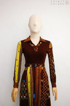 Geometric abstract print dress orange sky blue and lilac long sleeve midi,secretary midi Vintage midi dress with pleated skirt and bow tie