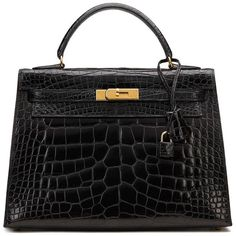 3d6c88cdfe View this item and discover similar tote bags for sale at - HERMES Black  Shiny Alligator VIntage Kelly Sellier This HERMES Kelly is in Very Good  Pre-Owned ...